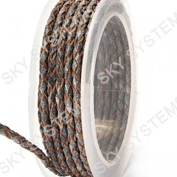 Кожаный плетеный шнур | 3,0 мм, Серый 19 | Скай