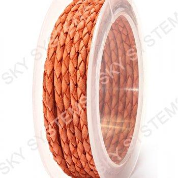 Кожаный плетеный шнур | 3,0 мм, Красный 36 | Скай