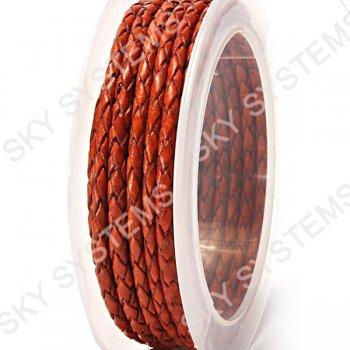 Кожаный плетеный шнур | 3,0 мм, Коричневый 37 |  Скай
