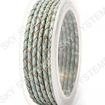 Кожаный плетеный шнур   3,0 мм, Бирюзовый 38   Скай