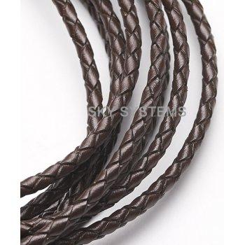 Кожаный плетеный шнур | 3,0 мм, Коричневый 42 | Скай