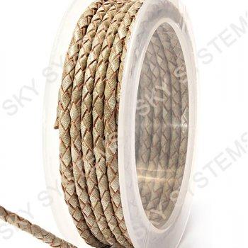 Кожаный плетеный шнур | 3,0 мм, Бежевый 40 |  Скай