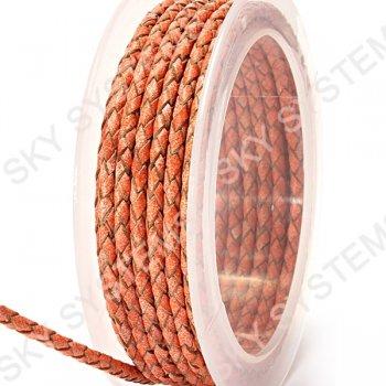 Кожаный плетеный шнур | 3,0 мм, Красный 47 | Скай