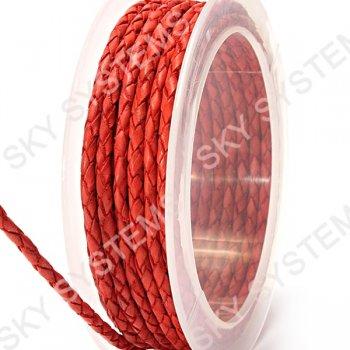 Кожаный плетеный шнур | 3,0 мм, Красный 48 | Скай