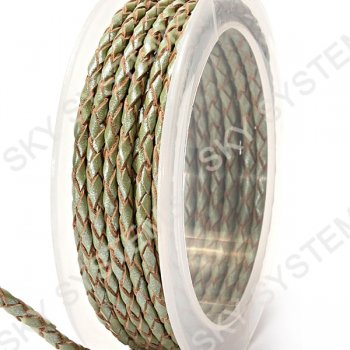 Кожаный плетеный шнур | 3,0 мм, Зеленый 50 | Скай