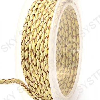 Кожаный плетеный шнур | 3,0 мм, Желтый 07 |  Скай