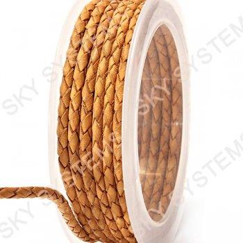 Кожаный плетеный шнур | 3,0 мм, Бежевый 08 | Скай