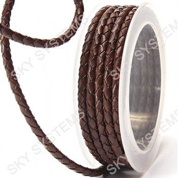 Кожаный плетеный шнур | 4,0 мм, Коричневый 01 | Скай