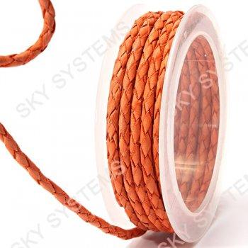 Кожаный плетеный шнур | 4,0 мм, Оранжевый 10 | Скай