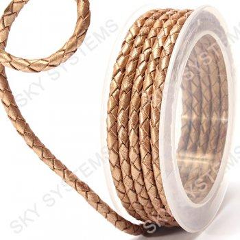 Кожаный плетеный шнур   4,0 мм, Бежевый 12   Скай
