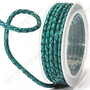 Кожаный плетеный шнур | 4,0 мм, Зеленый 16 | Скай