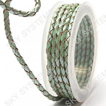 Кожаный плетеный шнур | 4,0 мм, Зеленый 18 | Скай