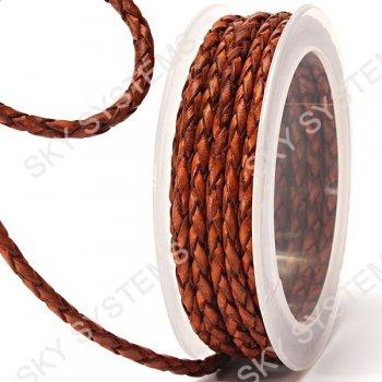 Кожаный плетеный шнур | 4,0 мм, Коричневый 02 | Скай
