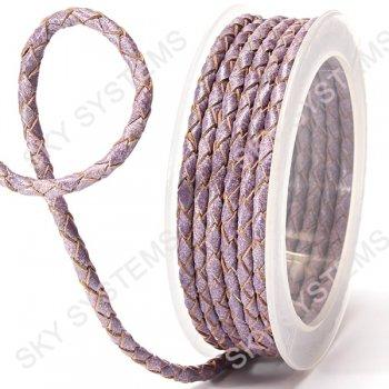 Кожаный плетеный шнур | 4,0 мм, Фиолетовый 20 | Скай