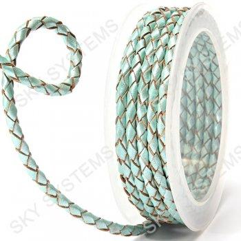 Кожаный плетеный шнур | 4,0 мм, Бирюзовый 21 | Скай