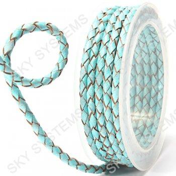 Кожаный плетеный шнур | 4,0 мм, Бирюзовый 22 | Скай