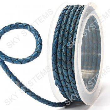 Кожаный плетеный шнур | 4,0 мм, Синий 23 | Скай