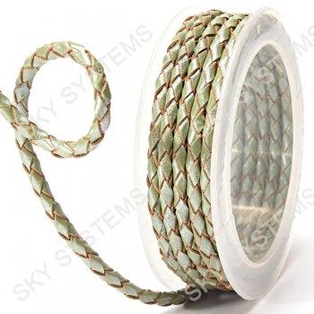 Кожаный плетеный шнур | 4,0 мм, Зеленый 24 | Скай