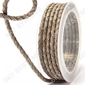 Кожаный плетеный шнур | 4,0 мм, Серый 29 | Скай