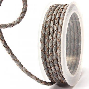 Кожаный плетеный шнур | 4,0 мм, Серый 32 | Скай