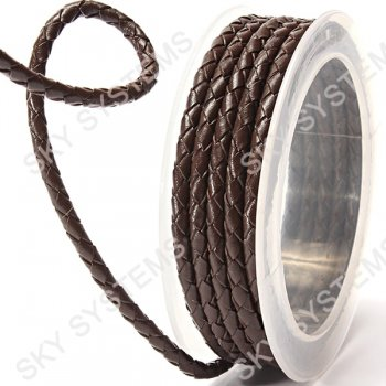 Кожаный плетеный шнур   4,0 мм, Коричневый 04   Скай