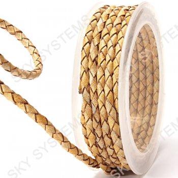 Кожаный плетеный шнур | 4,0 мм, Желтый 05 | Скай