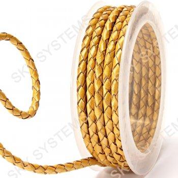 Кожаный плетеный шнур | 4,0 мм, Желтый 07 | Скай