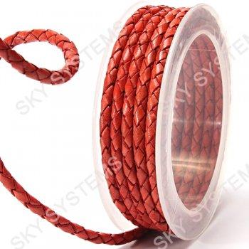 Кожаный плетеный шнур | 4,0 мм, Оранжевый 08 | Скай