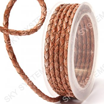 Кожаный плетеный шнур | 4,0 мм, Бежевый 09 | Скай