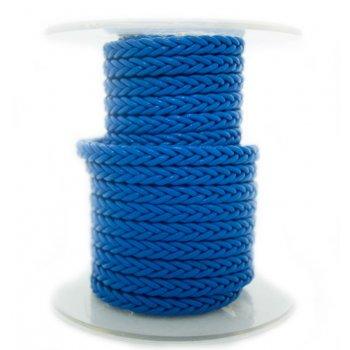 Синий квадратный плетеный кожаный шнурок | 5.0 х 5.0 мм
