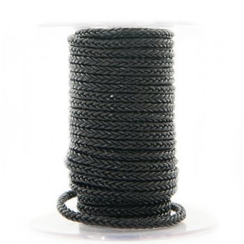 Черный квадратный плетеный кожаный шнурок 4.0 х 4.0 мм Индия