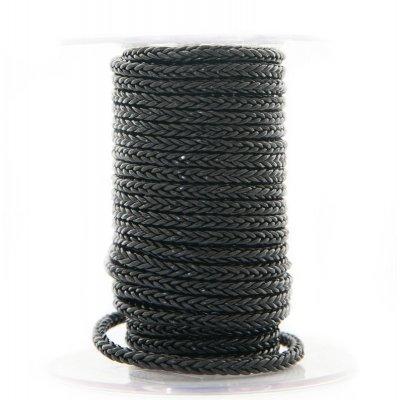 Квадратный плетеный кожаный шнурок | 4,0 х 4,0 мм Цвет: Черный (Индия)