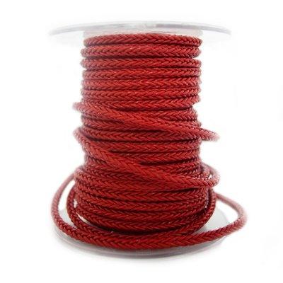 Квадратный плетеный кожаный шнурок   5,0 х 5,0 мм Цвет: Красный (Австрия)