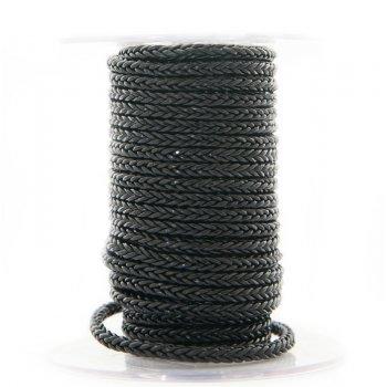 Черный квадратный плетеный кожаный шнурок 5.0 х 5.0 мм Индия