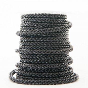 Черный квадратный плетеный кожаный шнурок   6.0 х 6.0 мм