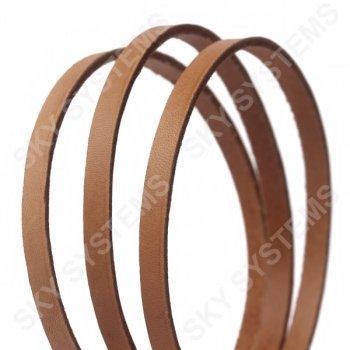 Плоский кожаный шнур светло-коричневый 6,0 х 2,5 мм