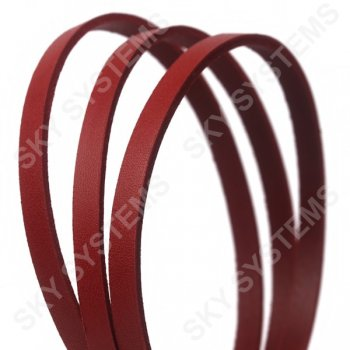 Плоский кожаный шнур красный 6,0 х 2,5 мм