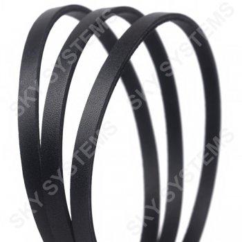 Плоский кожаный шнур черный 6,0 х 2,5 мм