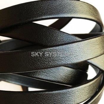 Плоский кожаный шнур черный матовый 10,0 x 2,0 мм (Испания)