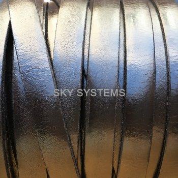 Плоский кожаный шнур черный глянцевый 10,0 x 2,0 мм (Испания)