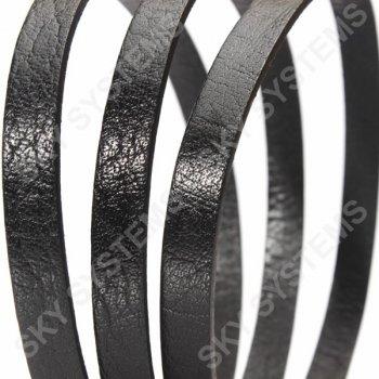 Черный плоский кожаный шнур 10,0 х 2,0 мм