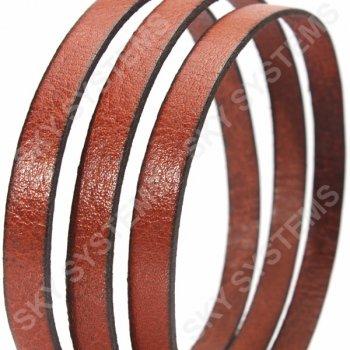 Светло-коричневый плоский кожаный шнур 10,0 х 2,0 мм