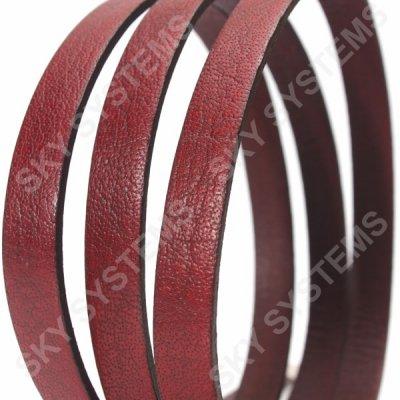 Плоский кожаный шнур 10,0 х 2,0 мм | Цвет: Красный