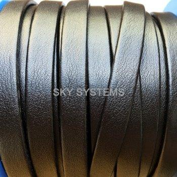 Плоский кожаный шнур черный матовый 6,0 x 2,0 мм (Испания)