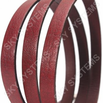 Красный плоский кожаный шнур 10,0 х 2,0 мм