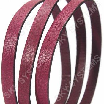 Пурпурный плоский кожаный шнур 10,0 х 2,0 мм