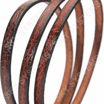 Коричневый с черным плоский кожаный шнур 5,0 х 2,0 мм