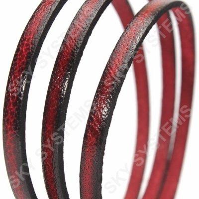 Плоский кожаный шнур 5,0 х 2,0 мм | Цвет: Красный с черным