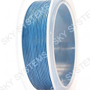 Кожаный шнур синего цвета 1,0 мм