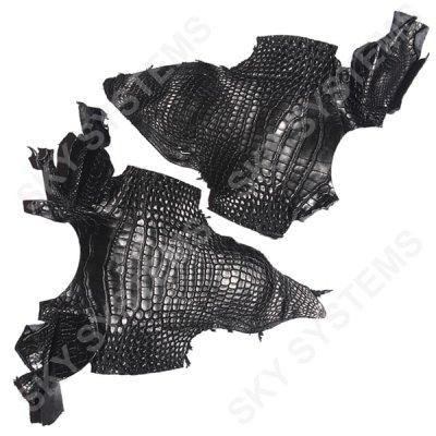 Обрезки кожи крокодила | Цвет: Черный